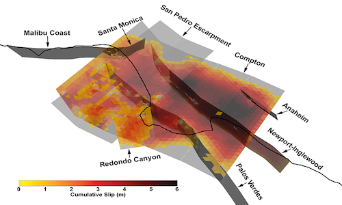 A 3D view of a multi-fault rupture from a synthetic earthquake.